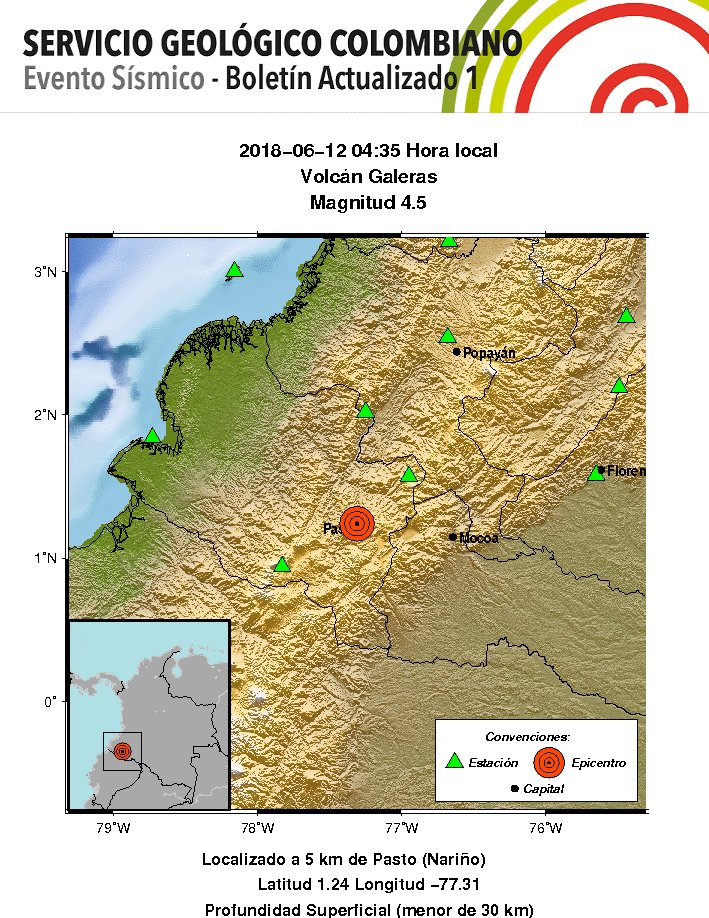 Earthquake swarm detected under Galeras volcano, Colombia